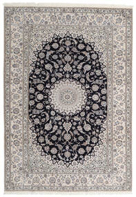 Nain 6La Teppe 205X295 Ekte Orientalsk Håndknyttet Lys Grå/Svart (Ull/Silke, Persia/Iran)