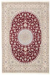 Nain 6La Habibian Teppe 200X296 Ekte Orientalsk Håndknyttet Lys Grå/Hvit/Creme (Ull/Silke, Persia/Iran)