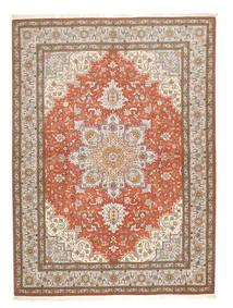 Tabriz 50 Raj Teppe 150X208 Ekte Orientalsk Håndknyttet Lys Grå/Brun (Ull/Silke, Persia/Iran)