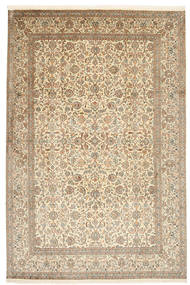 Kashmir Ren Silke Teppe 184X276 Ekte Orientalsk Håndknyttet Beige/Lys Grå (Silke, India)