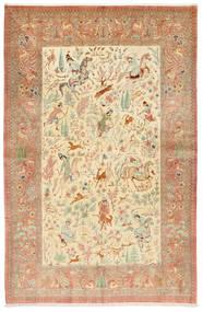 Ghom Silke Signert: Hosseini Teppe 155X240 Ekte Orientalsk Håndknyttet Rust/Mørk Beige (Silke, Persia/Iran)