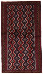 Beluch Teppe 108X193 Ekte Orientalsk Håndknyttet Svart/Mørk Rød (Ull, Persia/Iran)