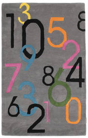 Lucky Numbers - Grå Teppe 100X160 Moderne Mørk Brun/Mørk Grå (Ull, India)