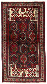 Beluch Teppe 109X197 Ekte Orientalsk Håndknyttet Mørk Rød/Mørk Brun (Ull, Persia/Iran)