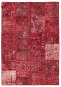 Patchwork Teppe 158X230 Ekte Moderne Håndknyttet Mørk Rød/Rød (Ull, Tyrkia)