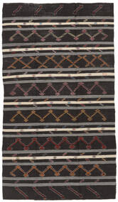 Kelim Halvt Antikke Tyrkiske Teppe 199X348 Ekte Orientalsk Håndvevd Svart/Mørk Grå (Ull, Tyrkia)