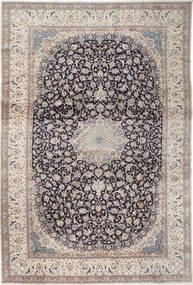 Nain 9La Teppe 408X610 Ekte Orientalsk Håndknyttet Lys Grå/Mørk Grå Stort (Ull/Silke, Persia/Iran)