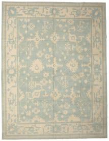 Usak Teppe 337X437 Ekte Orientalsk Håndknyttet Lys Grå/Lysbrun Stort (Ull, Tyrkia)