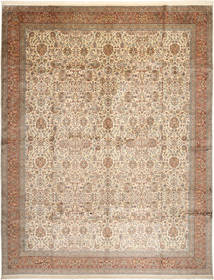 Kashmir Ren Silke Teppe 304X389 Ekte Orientalsk Håndknyttet Brun/Beige/Lys Grå Stort (Silke, India)