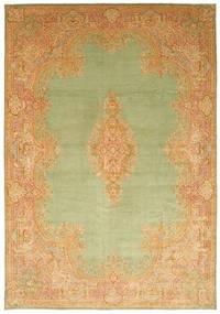 Kerman Teppe 394X570 Ekte Orientalsk Håndknyttet Mørk Beige/Lysgrønn/Lysbrun Stort (Ull, Persia/Iran)