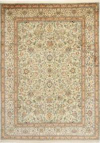 Kashmir Ren Silke Teppe 216X301 Ekte Orientalsk Håndknyttet Mørk Beige/Lysbrun (Silke, India)