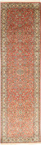Kashmir Ren Silke Teppe 80X302 Ekte Orientalsk Håndknyttet Teppeløpere Lysbrun/Brun (Silke, India)