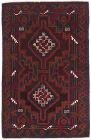 Beluch Teppe 86X135 Ekte Orientalsk Håndknyttet Mørk Brun/Mørk Rød (Ull, Afghanistan)