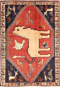 Ghashghai Teppe 125X177 Ekte Orientalsk Håndknyttet Mørk Lilla/Mørk Rød (Ull, Persia/Iran)