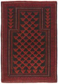 Beluch Teppe 91X134 Ekte Orientalsk Håndknyttet Mørk Rød/Svart (Ull, Afghanistan)
