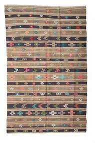 Kelim Halvt Antikke Tyrkiske Teppe 158X248 Ekte Orientalsk Håndvevd Lysbrun/Lys Grå/Mørk Grå (Ull, Tyrkia)