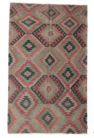 Kelim Halvt Antikke Tyrkiske Teppe 190X308 Ekte Orientalsk Håndvevd Mørk Grå/Mørk Rød (Ull, Tyrkia)