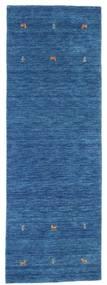 Gabbeh Loom Two Lines - Blå Teppe 80X250 Moderne Teppeløpere Mørk Blå/Blå (Ull, India)