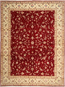 Tabriz 50 Raj Teppe 290X398 Ekte Orientalsk Håndknyttet Mørk Rød/Rust Stort (Ull/Silke, Persia/Iran)