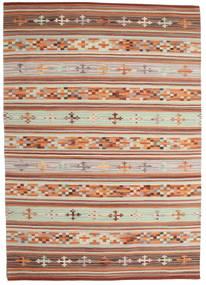 Kelim Anatolian Teppe 140X200 Ekte Moderne Håndvevd Mørk Rød/Lys Grå (Ull, India)