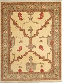 Tabriz 40 Raj Teppe 230X295 Ekte Orientalsk Håndknyttet Lysbrun/Mørk Beige (Ull/Silke, Persia/Iran)