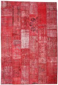 Patchwork Teppe 201X296 Ekte Moderne Håndknyttet Rød/Rust (Ull, Tyrkia)