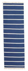 Dorri Stripe - Mørk Blå Teppe 80X300 Ekte Moderne Håndvevd Teppeløpere Blå/Beige (Ull, India)