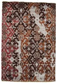 Damask Teppe 122X179 Ekte Moderne Håndknyttet Mørk Rød/Rosa ( India)