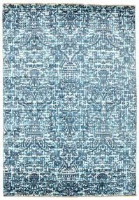 Damask Teppe 170X244 Ekte Moderne Håndknyttet Lys Blå/Blå ( India)