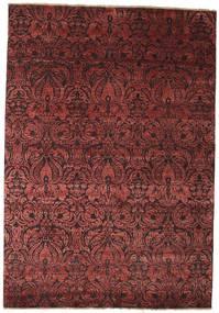 Damask Teppe 172X244 Ekte Moderne Håndknyttet Mørk Rød/Brun ( India)