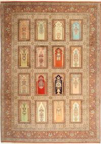 Kashmir Ren Silke Teppe 244X355 Ekte Orientalsk Håndknyttet Brun/Mørk Beige (Ull/Silke, India)
