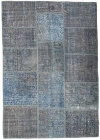 Patchwork Teppe 141X200 Ekte Moderne Håndknyttet Mørk Grå/Blå/Lys Blå (Ull, Tyrkia)