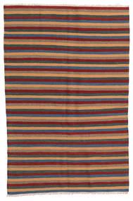 Kelim Teppe 124X190 Ekte Orientalsk Håndvevd Mørk Rød/Mørk Grå (Ull, Persia/Iran)