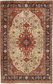 Tabriz Teppe 197X312 Ekte Orientalsk Håndknyttet Mørk Brun/Lysbrun (Ull, Persia/Iran)