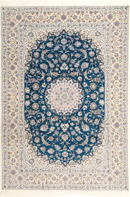 Nain 6La Habibian Teppe 204X304 Ekte Orientalsk Håndknyttet Lys Grå/Hvit/Creme (Ull/Silke, Persia/Iran)