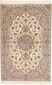 Isfahan Silkerenning Davudi Teppe 130X202 Ekte Orientalsk Håndknyttet Beige/Lys Grå (Ull/Silke, Persia/Iran)
