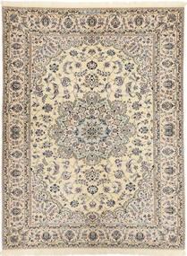Nain 6La Habibian Teppe 144X198 Ekte Orientalsk Håndknyttet Lys Grå/Beige (Ull/Silke, Persia/Iran)