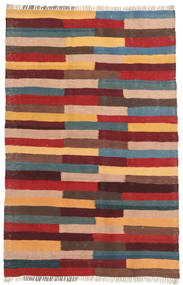 Kelim Teppe 77X118 Ekte Orientalsk Håndvevd Lysbrun/Mørk Rød (Ull, Persia/Iran)