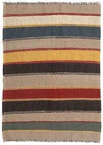 Kelim Teppe 132X193 Ekte Orientalsk Håndvevd Lysbrun/Svart (Ull, Persia/Iran)