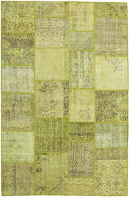 Patchwork Teppe 198X303 Ekte Moderne Håndknyttet Olivengrønn/Lysgrønn (Ull, Tyrkia)