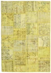 Patchwork Teppe 159X232 Ekte Moderne Håndknyttet Gul/Olivengrønn (Ull, Tyrkia)