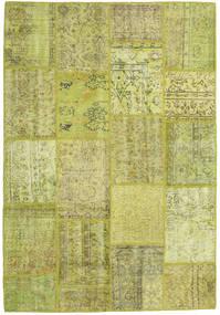 Patchwork Teppe 159X231 Ekte Moderne Håndknyttet Olivengrønn/Gul (Ull, Tyrkia)