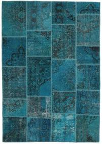 Patchwork Teppe 159X230 Ekte Moderne Håndknyttet Mørk Blå/Mørk Turkis (Ull, Tyrkia)
