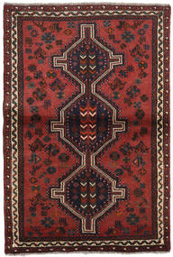 Shiraz Teppe 103X155 Ekte Orientalsk Håndknyttet Mørk Rød/Svart (Ull, Persia/Iran)