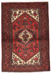 Hosseinabad Teppe 97X137 Ekte Orientalsk Håndknyttet Mørk Rød/Svart (Ull, Persia/Iran)