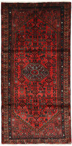 Hamadan Teppe 107X209 Ekte Orientalsk Håndknyttet Mørk Rød/Mørk Brun (Ull, Persia/Iran)