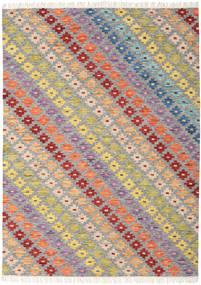 Spring Kelim Teppe 210X290 Ekte Moderne Håndvevd Lys Grå/Mørk Beige (Ull, India)