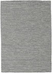 Kelim Honey Comb - Svart/Grå Teppe 140X200 Ekte Moderne Håndvevd Lys Grå/Mørk Grå (Ull, India)