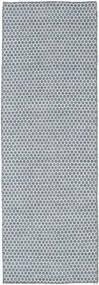 Kelim Honey Comb - Blå Teppe 80X240 Ekte Moderne Håndvevd Teppeløpere Lys Blå/Lys Grå (Ull, India)
