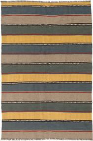 Kelim Teppe 127X190 Ekte Orientalsk Håndvevd Svart/Lysbrun (Ull, Persia/Iran)